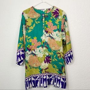 Cabi Silk Tunic Blouse Bell Sleeve Large